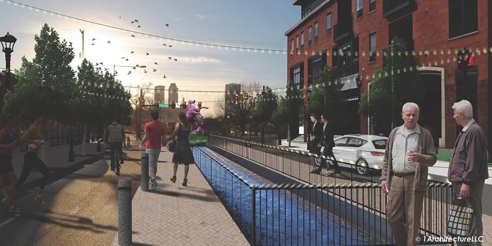 Tulsa 6th Street Canal rendering by 1Architecture LLC